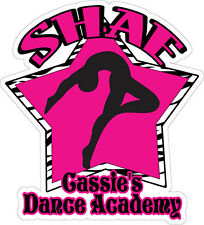 Personalized dancer ZEBRA 5 inch decal sticker dance studio name & your name