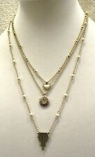 LUCKY BRAND NECKLACE, LUCKY LAYERS, 3 STRANDS, IVORY COLORED BEADS, OPEN FLOWER
