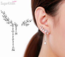 New Unique 925 Sterling Silver CZ Leaf Branch Cuff Climber Crawler Post Earrings