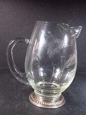 """Sterling FOOTED GLASS AND SILVER PITCHER  7"""" Etched Floral Design"""