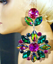 Venus Starflower Emerald &Fuchsia Rhinestone Earrings DragQueen Costume Stage