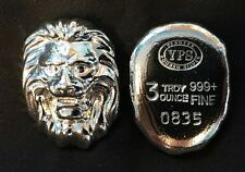 "3oz YPS ""Lion"" 999+ fine silver bullion bar ""Yeager's Poured Silver"""