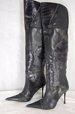 STEVE MADDEN LUXE HI HEEL SNAKE & LEATHER POINTY OVER THE KNEE BOOTS SIZE 9
