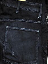 Authentic G-STAR Ultra Slim Motorcycle Zippers Men's Dark Black Jeans Sz 31x32