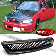 For: 96-98 Civic EK DX EX HX LX Type R ABS Mesh Black Front Hood Grill Grille