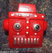 ROBOT HEAD STILL BANK Cast Iron Science Fiction Space HUBLEY 1950 Red