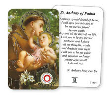 SAINT ANTHONY LAMINATED PRAYER CARD WITH RELIC - STATUES CANDLES PICTURES LISTED