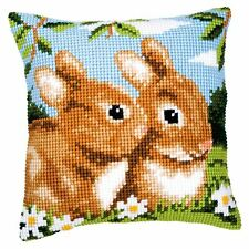 "Rabbits Blue Brown Beige White Cushion Cover 16"" x 16"" Cross Stitch Kit"