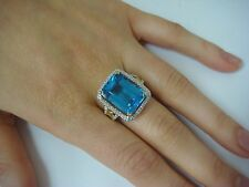 EXQUISITE LARGE BLUE TOPAZ AND DIAMONDS RING 14K YELLOW GOLD SIZE 7 9.6 GRAMS