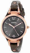 Fossil Women's ES3077 Georgia Rose Gold-tone Gray Leather Strap Watch