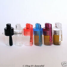 6 X Lot Small Size Acrylic Snuff Bullet Rocket Snorter Glass Vial w/ Spoon flip