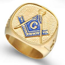 SZ 7 8 9 10 11 12 13 14 15 Gold Masonic Ring Stainless Steel Cocktail Graudation