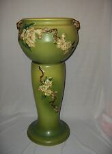 Roseville Pottery Green Apple Blossom Jardiniere & Stand #'s 302-8 & 305-8 C1949