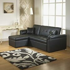 Crystal Corner Sofa Bed With Storage in Black Faux Leather