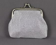 "Silver sparkly coin change purse pouch kiss lock snap top 3.75"" wide"