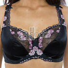 Ladies Plus Size Black Pink Hearts Flowers Large Bosom Underwired Firm Hold Bra