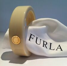 FURLA Ivory-Cream 'ARIANNA' Resin Bangle SLIP-ON Bracelet Gold Metal Centre NWT