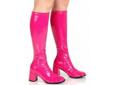 Hot Pink - 1960s Go Go Ladies Pink Boots For Women Knee High Boots - Size 9 UK