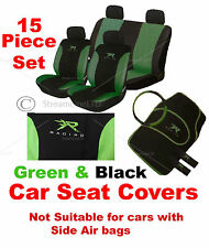 15 Pce Green & Black XR Racing Car Seat Belt Steering Wheel Covers Cover Mat Set