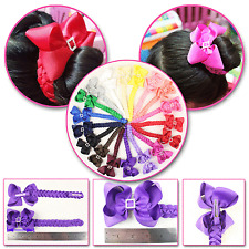 "9pc Infant girl 4"" hair bow clips with quartet drill 6"" knot braid 2796-mix3-P"