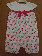 BNWT baby girl sun suit / romper with strawberries from Matalan. 12-18 months