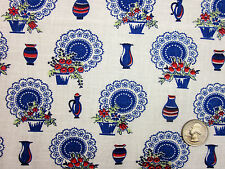"""Feedsack Vintage """"PITCHERS & VASES"""" 100% Cotton Quilt & Sewing Fabric"""