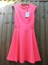 TED BAKER - 53-MID PINK SIDE PLEAT SKATER DRESS - NEW