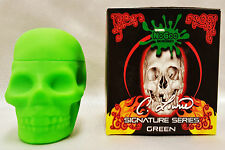 Green NoGoo Skull Screw Top NonStick Silicone Container Take Icky out of Sticky