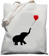 Baby Elephant balloon  Gift  Natural Cotton Shoulder Bag 100% Cotton Tote Bag