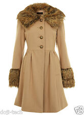 Miss Selfridge Camel Wool Fur Collar Cuff Vtg Skirted Princess Dress Coat 8 36 S