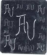 Große Monogramm Schablone AV VA Jugendstil Weißblech 15,5 x 18 cm Weissstickerei