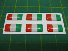 6 SMALL DOMED iTALIAN  FLAG STICKERS 15mm x 7.5mm