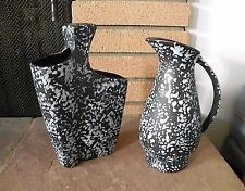 Red Wing Pottery BLACK & WHITE OXFORD GLAZE VASES Set of 2 MADE IN USA
