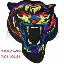 Large Tiger Head Wild Embroidered Patches Iron on Patch Applique Cloth Jacket