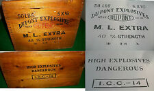 2 side Old Vintage Dupont Explosives Crate Box Dangerous Airbrush Stencils Army