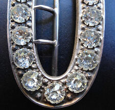 antique Edwardian h/m SILVER 1901 Chester clear rhinestone belt buckle -C892