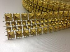 SILVER/GOLD STUD DIAMANTE EFFECT RIBBON TRIM,WEDDING,CRAFT, 1 Yard/2.5 cm Approx