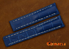 22mm Blue Croco Grain Genuine Leather Watch Band Strap Bracelet For Breitling