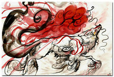 OKAMI FIRE GOD Game Silk Fabric Poster 24x36 inch 002