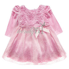 White Vintage Rose Flower Girl Princess Baby Formal Wedding Party Pageant Dress