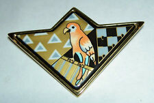 Authentic MICHAELA FREY WILLE Enamel Tropic Rosa Orange Parrot Bird Pin Brooch
