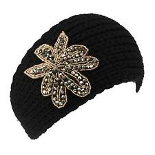 Winter Handknit Floral Beaded Patch Knit Stretch Headwrap Headband Ski Black