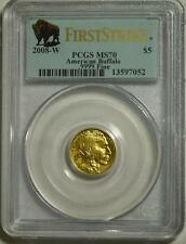 2008 W $5 BUFFALO GOLD COIN PCGS MS70 FIRST STRIKE