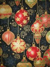 Holiday Flourish 9 Ornaments Red Gold Black Christmas Robert Kaufman Fabric Yard