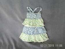 Girls 2-3 Years - Blue/Green/White Floral Sleeveless Tiered Summer Dress/Tunic