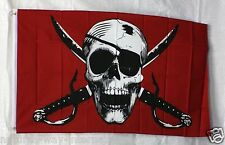 CRIMSON PIRATE flag 3'x5' banner ARGH MATEY HOIST JOLLY ROGER SKULL CROSSBONES
