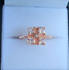 Antique Cushion Cut Morganite & Diamond Rose Gold Ring