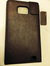 Samsung Galaxy SII i9100 Fitted Genuine Leather Flip Case in Brown. Brand New