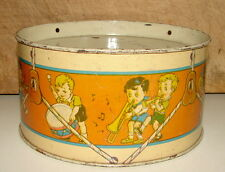 VINTAGE TIN TOY DRUM WITH CHILDREN PLAYING MUSICAL INSTRUMENTS