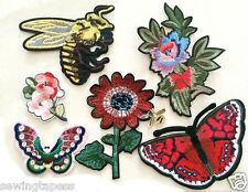 Set of 7 Red Flowers Butterfly Bee Fashion Embroidered Applique DIY Sew On Patch
